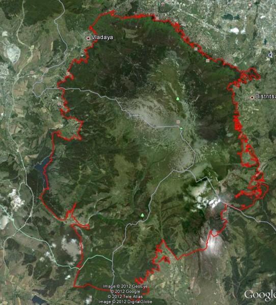 Границите на ПП Витоша към 2012 г.
